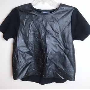 Zara Knit Faux Leather Studded Short Sleeve Top S